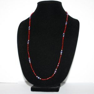 """Vintagejelyfish Jewelry - Beautiful red Purple and silver glass necklace 30"""""""